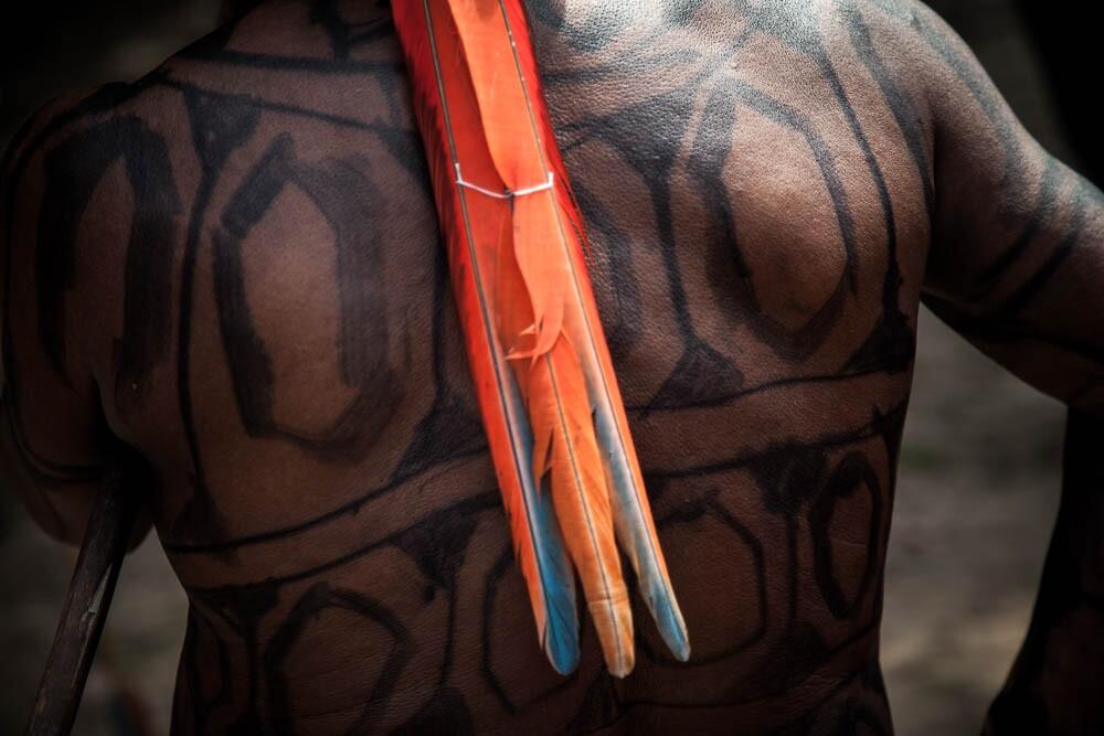 Para evocar a inteligência e a estratégia de defesa desse bicho, os homens pintam a pele com traços iguais aos da casca do jabuti. Foto: Marcio Isensee e Sá