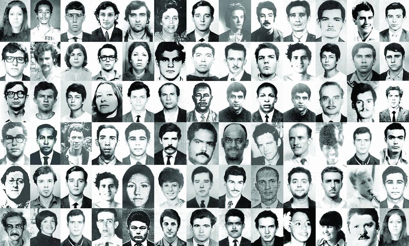 Painel com rosto de mortos e desaparecidos durante a ditadura militar no Brasil (1964-1985)