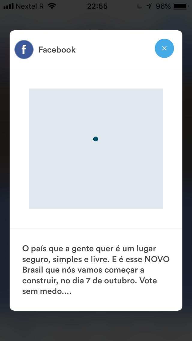 """Novo MOB pede que usuário compartilhe vídeo no facebook, mas oculta inteiro teor da legenda e apresenta """"bug"""" na reprodução do vídeo"""