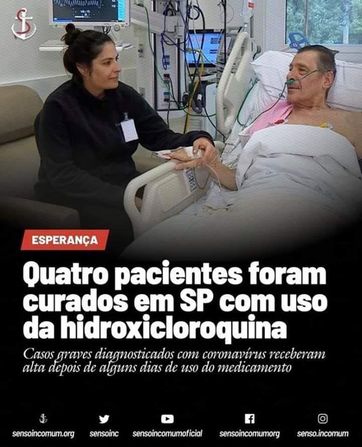 Três imagens que divulgavam falsamente o uso da cloroquina como tratamento para covid-19 ficaram entre as 100 mais compartilhadas no Whatsapp (Reprodução/ WhatsApp)
