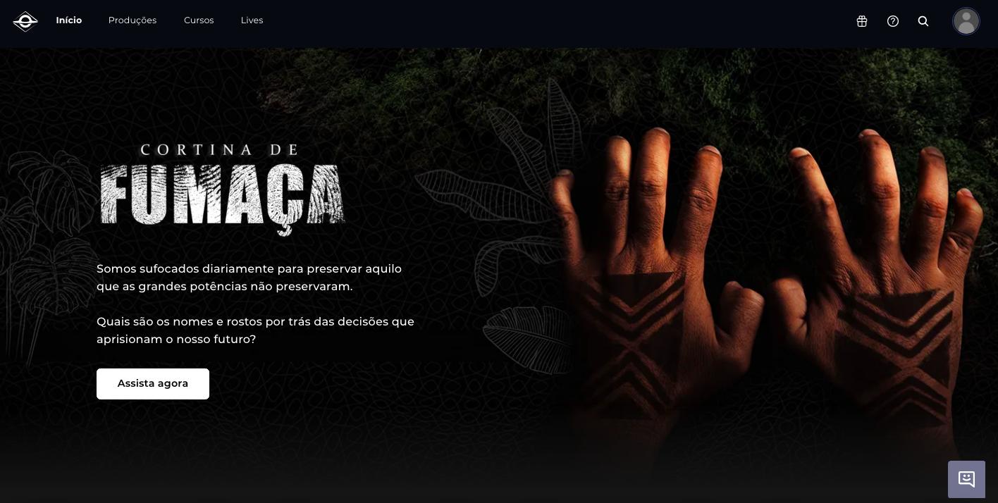 """Print da plataforma de membros da Brasil Paralelo mostra capa do documentário """"Cortina de Fumaça"""""""