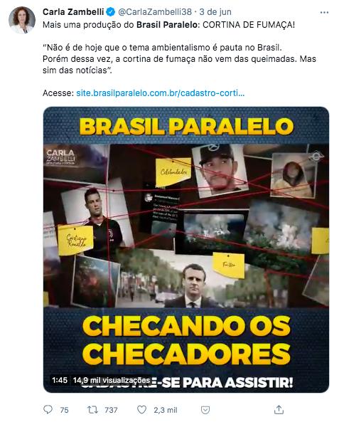 """Print de tuíte da deputada Carla Zambelli na qual ela divulga lançamento do documentário """"Cortina de Fumaça"""" da produtora conservadora Brasil Paralelo"""