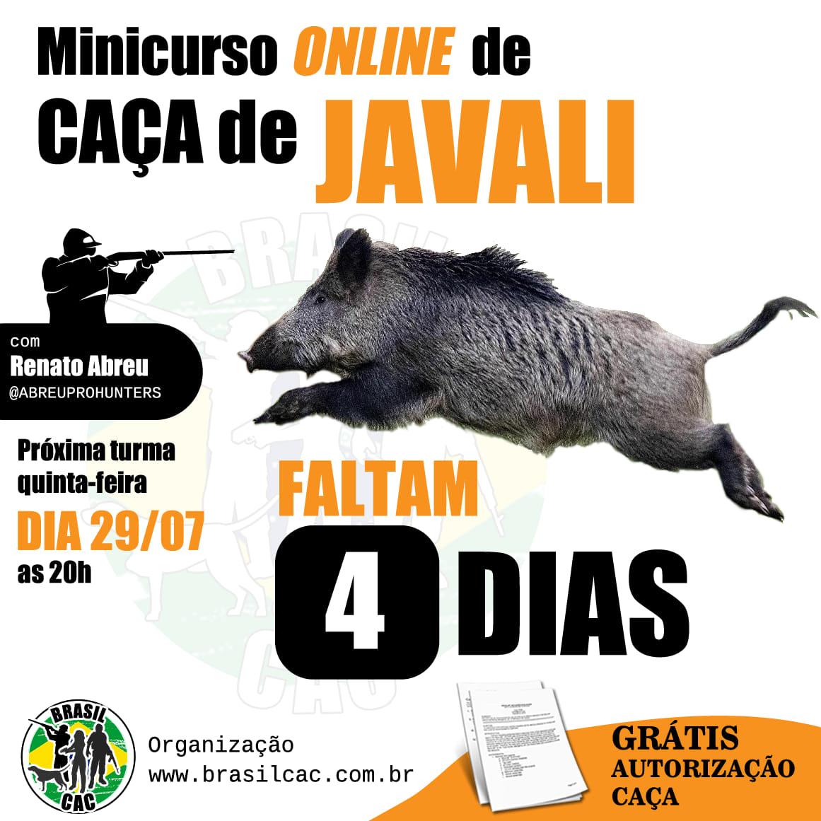 Anúncio de curso de caça de javali da organização Brasil Cac divulgado em grupos de Facebook
